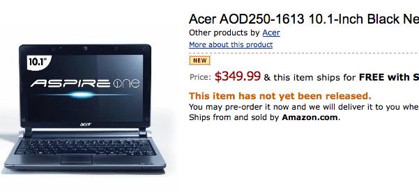 L'Acer AOD 250 en pré-commande sur Amazon US à 350 dollars