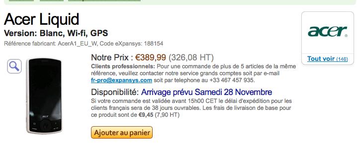 L'Acer Liquid en France le 28 novembre chez Expansys