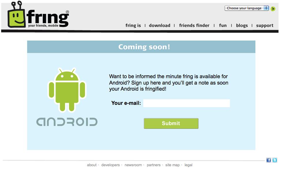 Fring sur Android, bien plus tôt que prévu