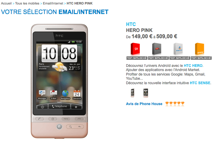 HTC Hero en rose chez The Phone House