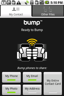 Bump : l'échange facilité d'appareil à appareil