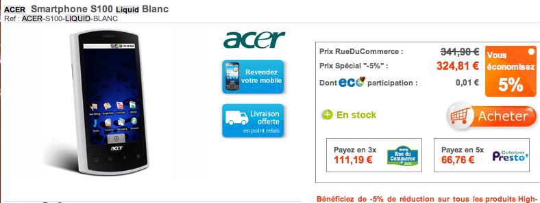 L'Acer Liquid à 325 euros sur RueDuCommerce