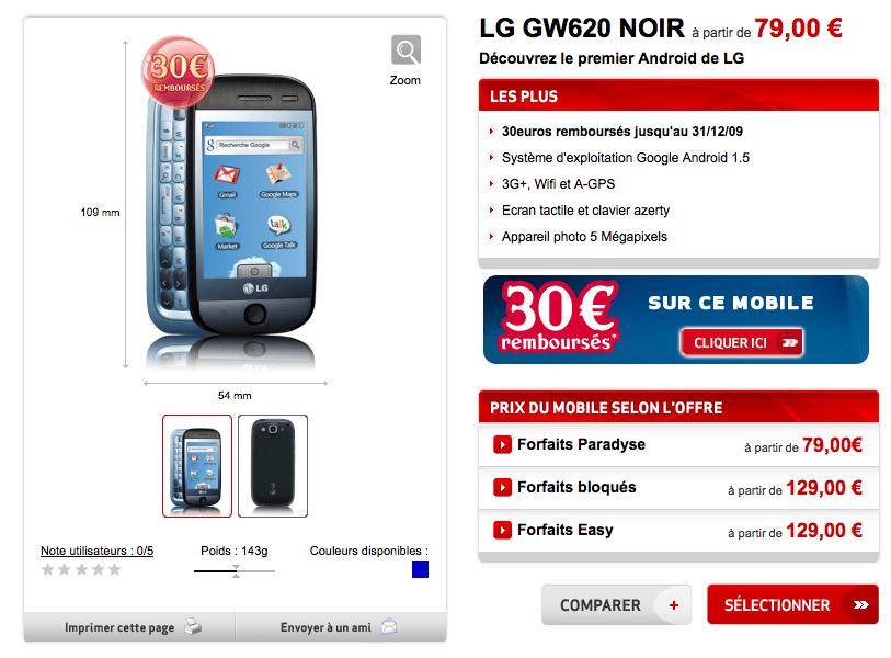 Exclu : Le LG GW620 disponible chez Virgin Mobile à partir de 1 euro grâce à FrAndroid (MAJ)