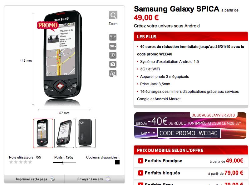 Le Samsung Spica disponible chez Virgin Mobile à partir de 1 euro