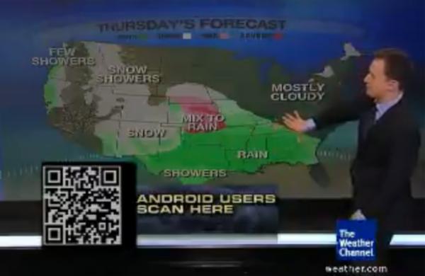 The Weather Channel fait la pub' de son application en direct