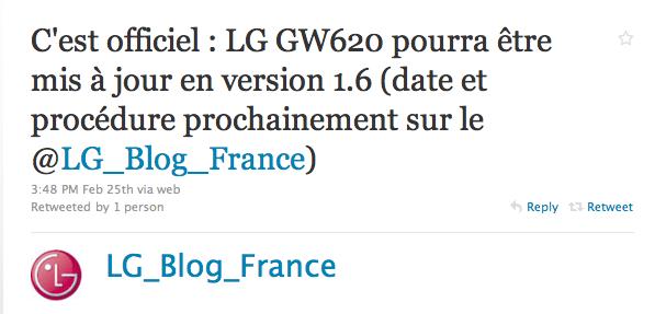 LG GW620 : c'est officiel, mise à jour Android 1.6 !