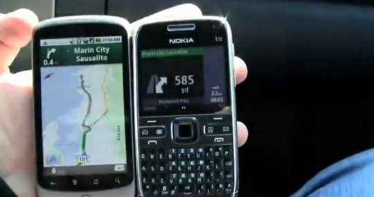 GPS : Comparatif vidéo de Google Maps Navigation et OVI Maps
