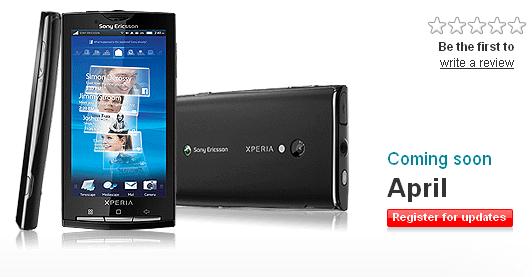 Erratum : Le Sony Ericsson X10, pas de retard et Android 1.6 !