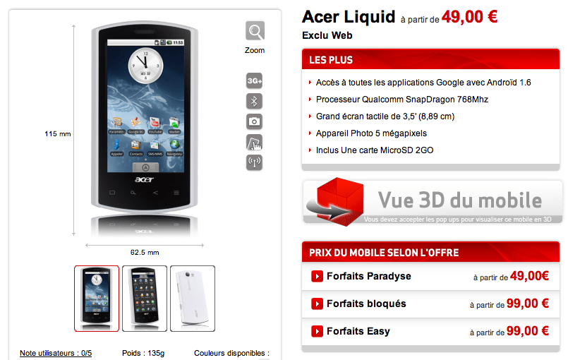 Acer Liquid re-disponible chez Virgin Mobile à partir de 19 euros grâce à FrAndroid