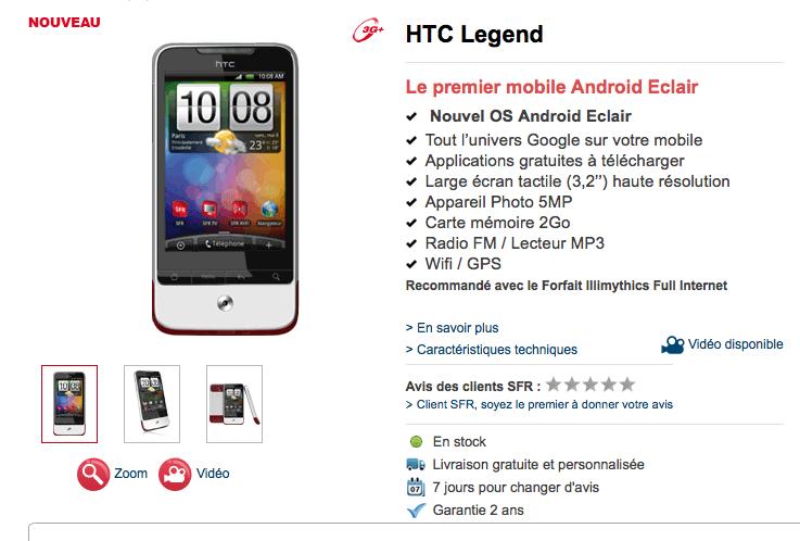 HTC Legend disponible chez SFR à partir de 79 euros