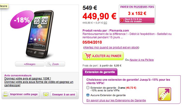 HTC Desire à 437 euros en pré-vente sur Pixmania et 473 euros à la Fnac
