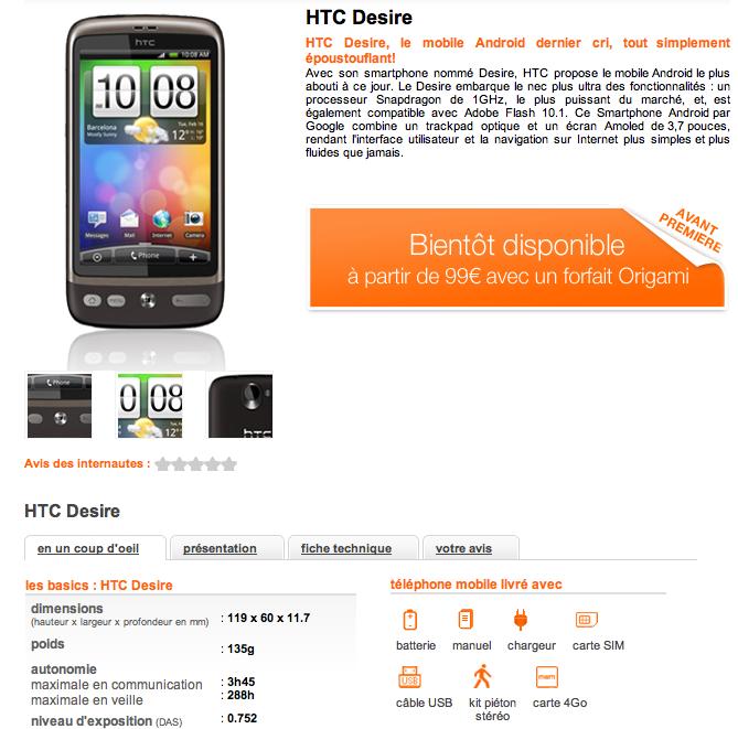 HTC Desire à partir de 99 euros chez Orange