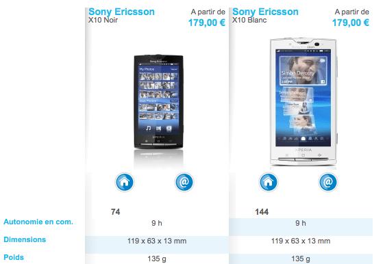 Le Sony Ericsson X10 disponible chez The Phone House