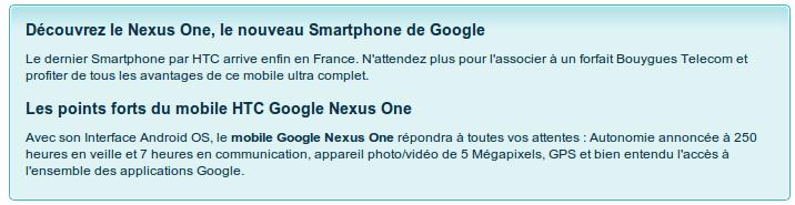 Apparition du Nexus One chez Bouygues