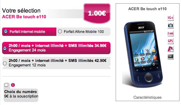 Afone Mobile, MVNO français, commercialise l'Acer beTouch E110 !