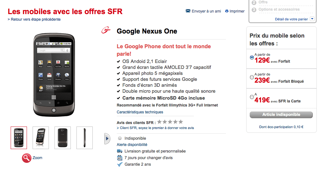 Le Nexus One en vente sur le site de SFR