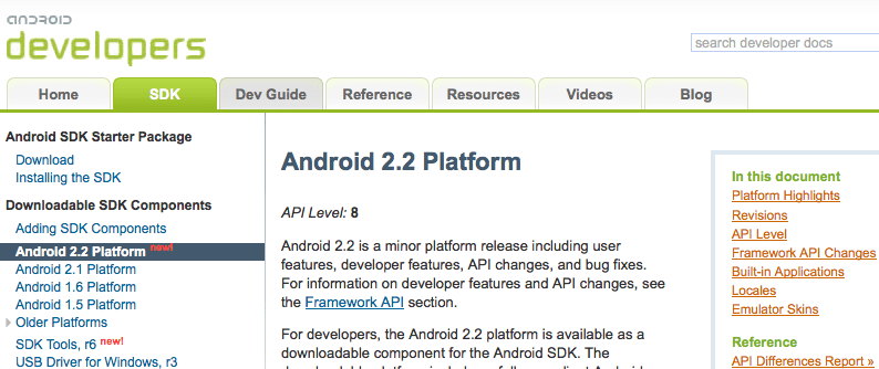 Nouveau : SDK Android 2.2, API 8, NDK r4…