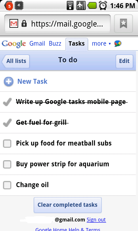 Google Tasks mobile pour Android