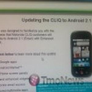 Mise à jour vers Android 2.1 pour le Motorola Cliq (Dext)