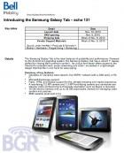 La Samsung Galaxy Tab débarque chez Bell le 12 novembre