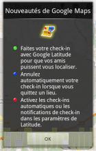 Nouvelle version de Google Maps : ajout des check-ins pour Latitude
