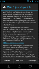 Motorola RAZR HD SFR : mise à jour vers Jelly Bean en cours de déploiement