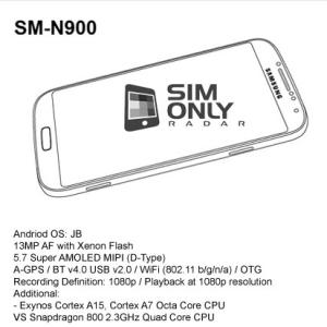 Samsung, un visuel et les caractéristiques du Galaxy Note 3 (SM-N900) ?