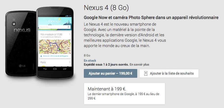 Le Nexus 4 vient de baisser subitement de prix