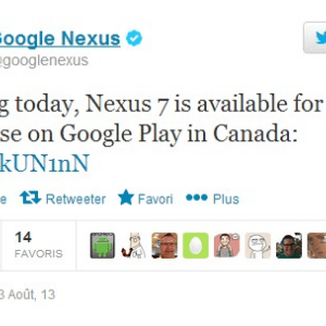 La Nexus 7 2013 est disponible sur le Google Play Canada