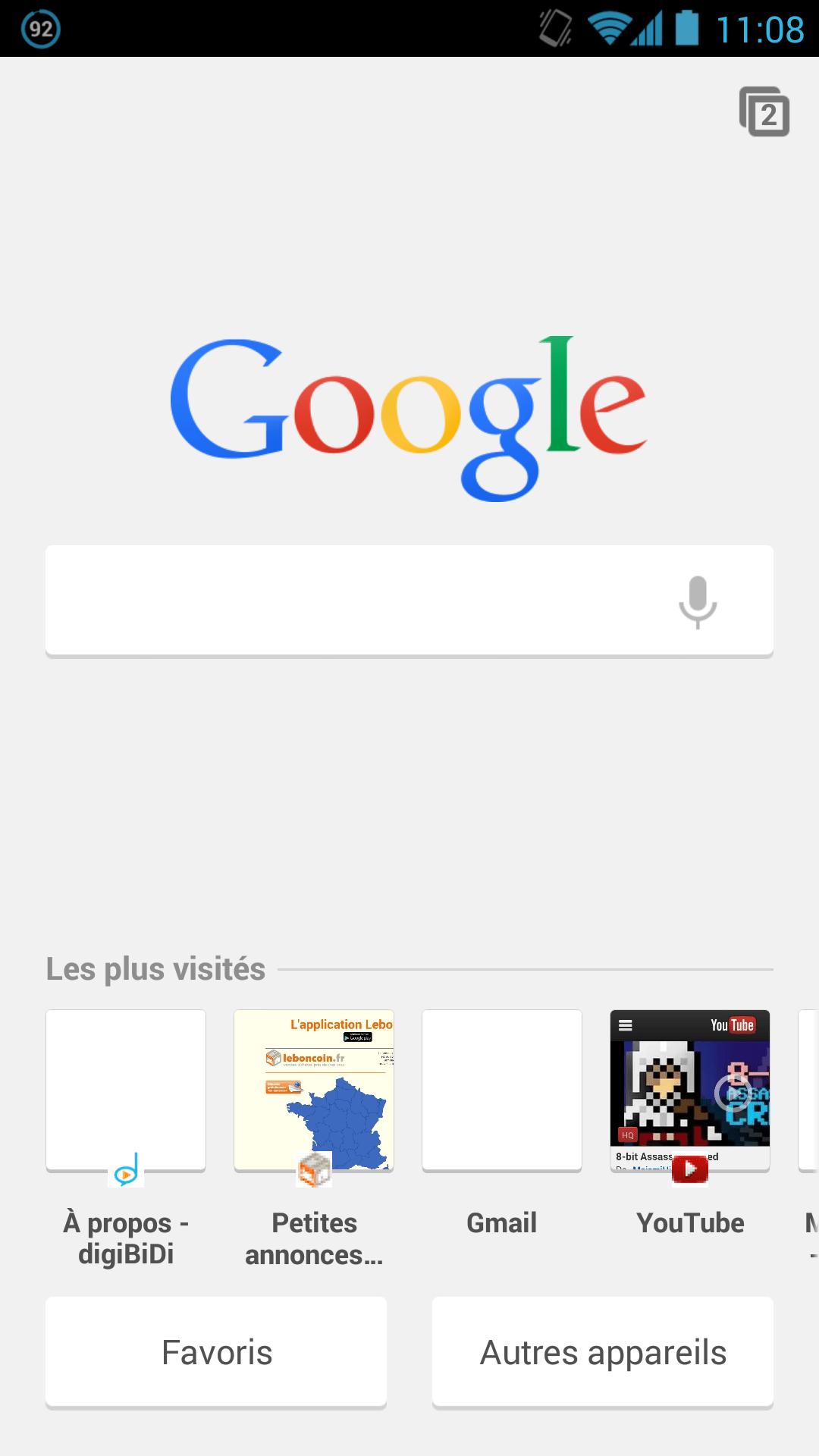 Une nouvelle page de recherche Google apparait dans Google Chrome Beta