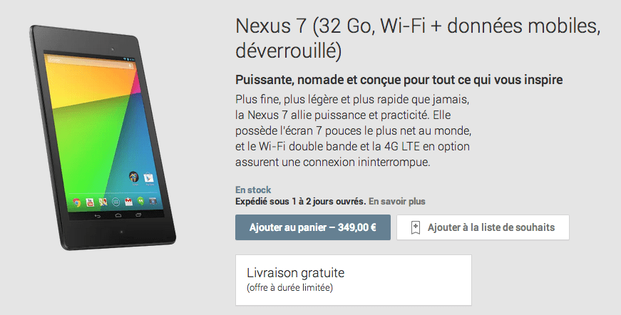 La Nexus 7 (2013) version LTE (4G) est disponible sur le Google Play