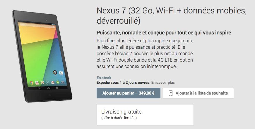 La Nexus 7 (2013) version LTE (4G) est disponible sur le Google Play