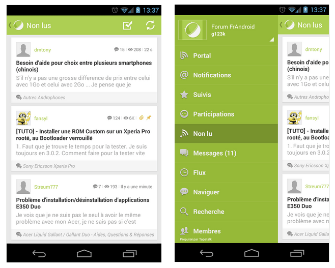 Le forum FrAndroid en application Android avec Tapatalk