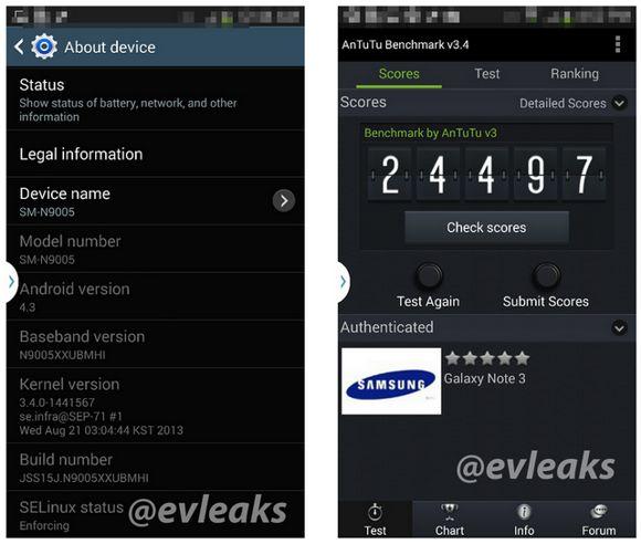 Le Samsung Galaxy Note III aurait 2,5 Go de RAM et non 3 Go