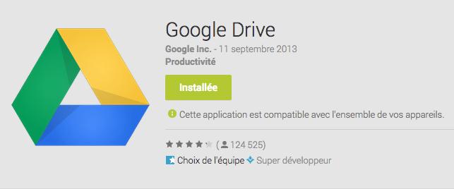 Google Drive 1.2.352.9 est en cours de déploiement sur Android