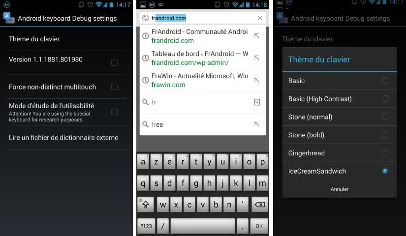 Cinq anciens thèmes accessibles sur le Clavier Google d'Android