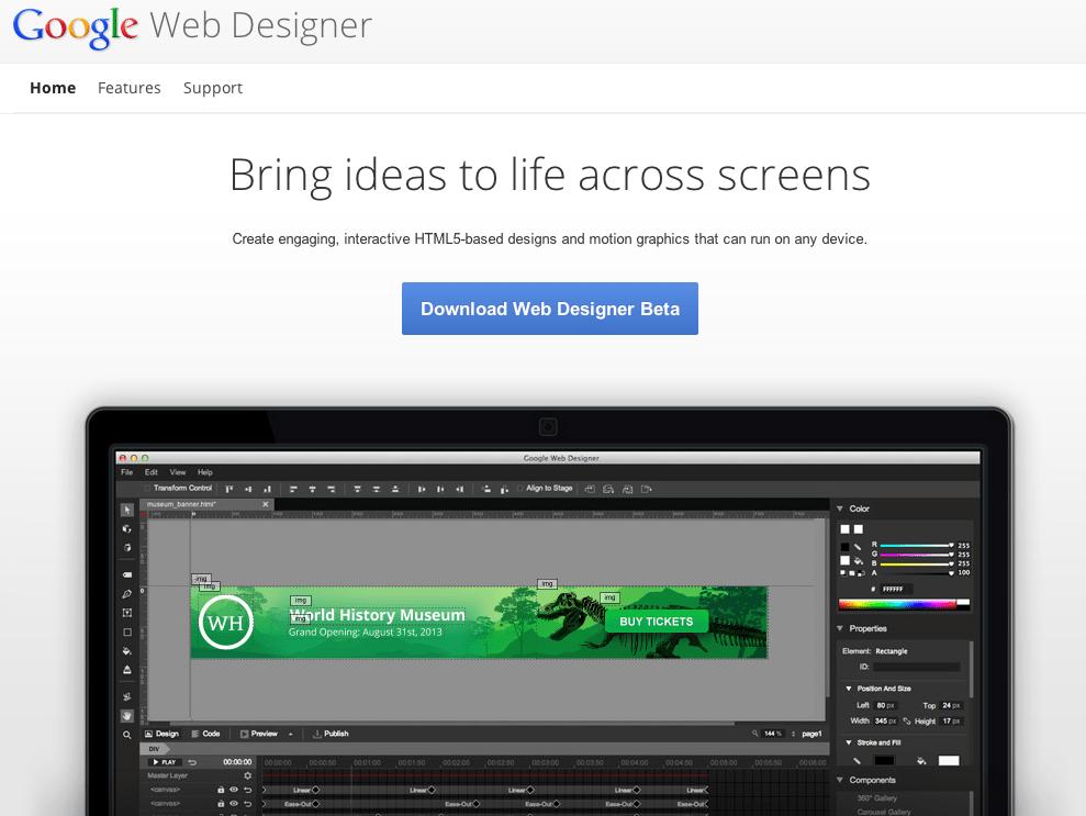 Google Web Designer : un nouvel outil de création (publicitaire) en HTML 5