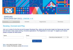 Samsung Developer Day de Londres : inscriptions ouvertes pour le 18 novembre