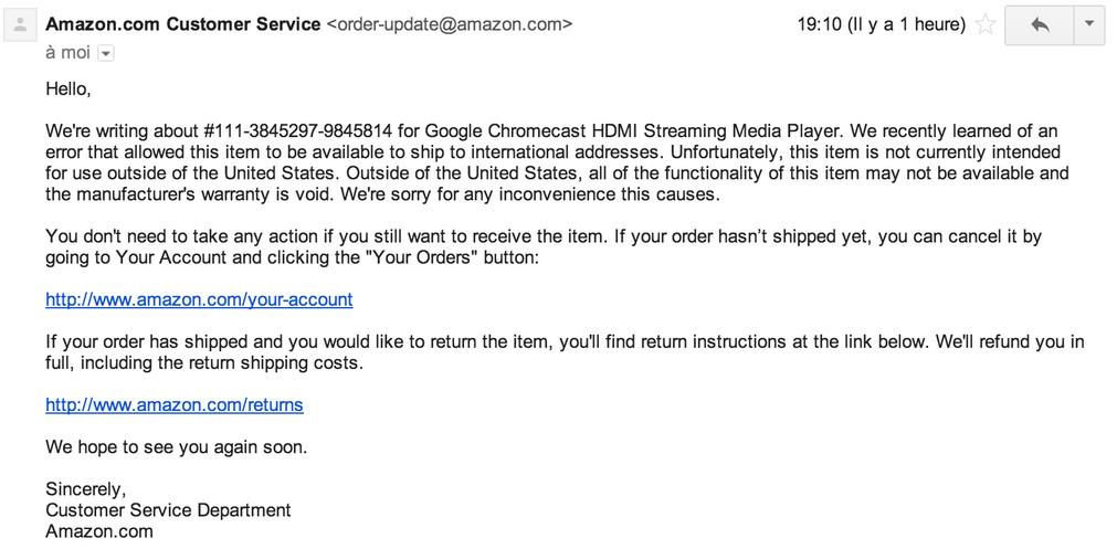 Finalement, les ChromeCast ne seront plus livrés par Amazon France