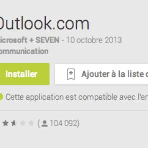 Outlook.com 7.8 pour Android améliore la recherche dans les emails