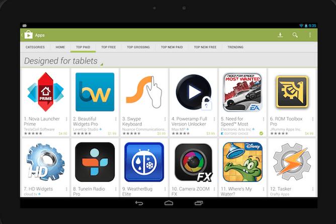 Le Play Store proposera bientôt une section spécialement dédiée aux tablettes