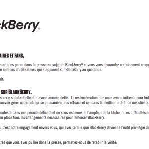 BlackBerry : «Vous pouvez compter sur nous», mais jusqu'à quand ?