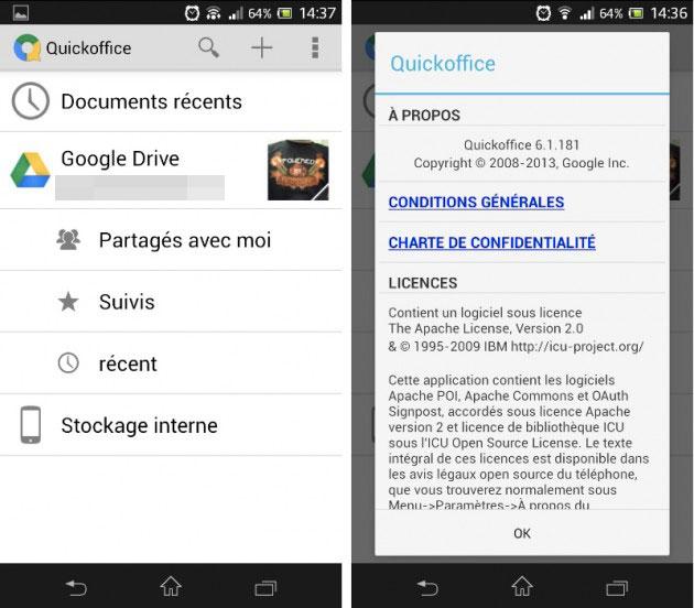 Quickoffice s'offre une mise à jour mineure sur Android
