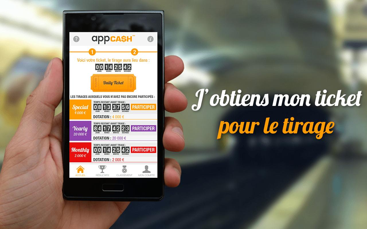 AppCash : participez à des tombolas quotidiennes sur votre smartphone, et gagnez de l'argent