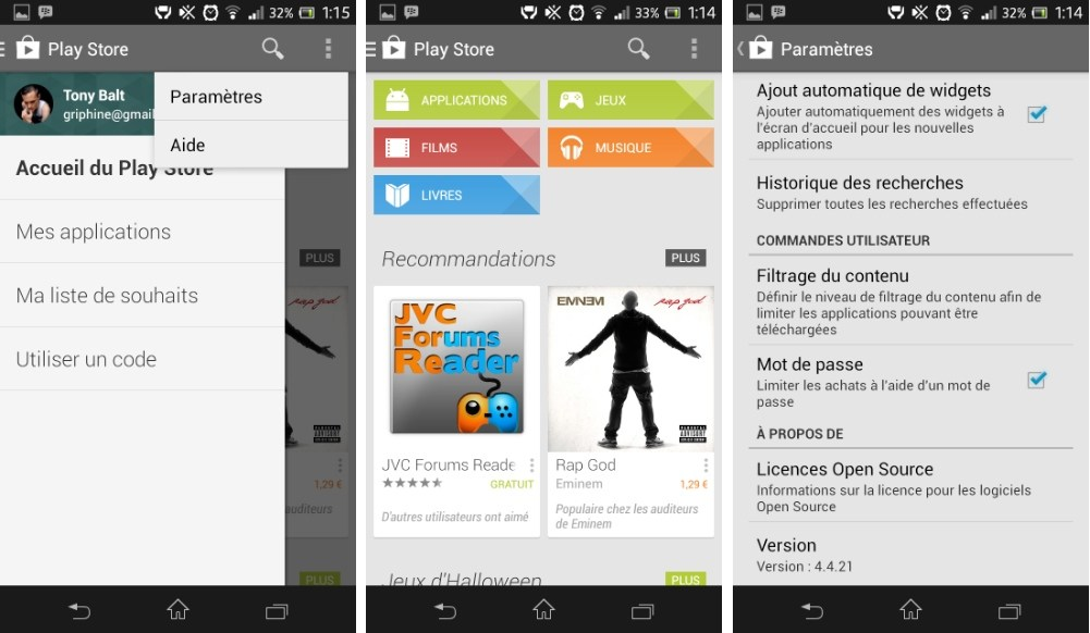 Installez la dernière version du Play Store 4.4.21