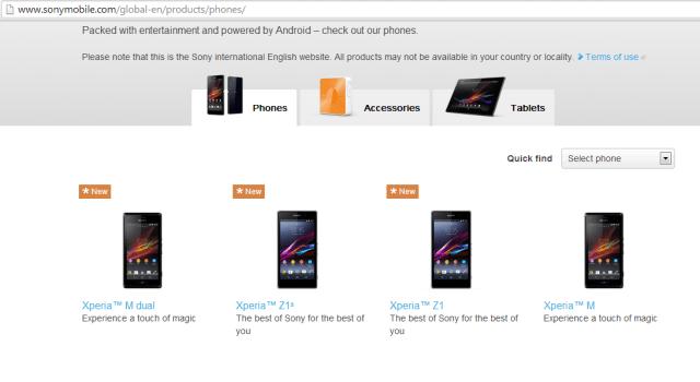 Le Sony Xperia Z1s aperçu furtivement sur le site du fabricant