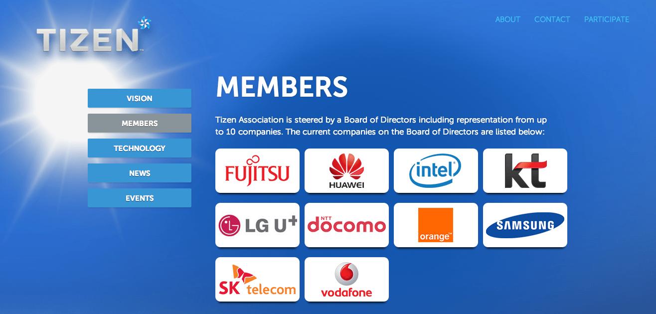 Tizen : 36 partenaires et une association