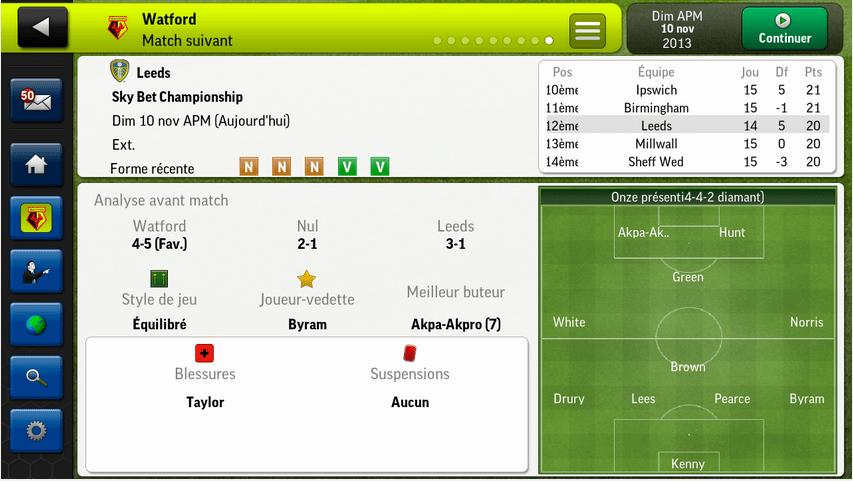 Football Manager Handheld 2014 sur Android, le jeu de gestion sportive édité par Sega