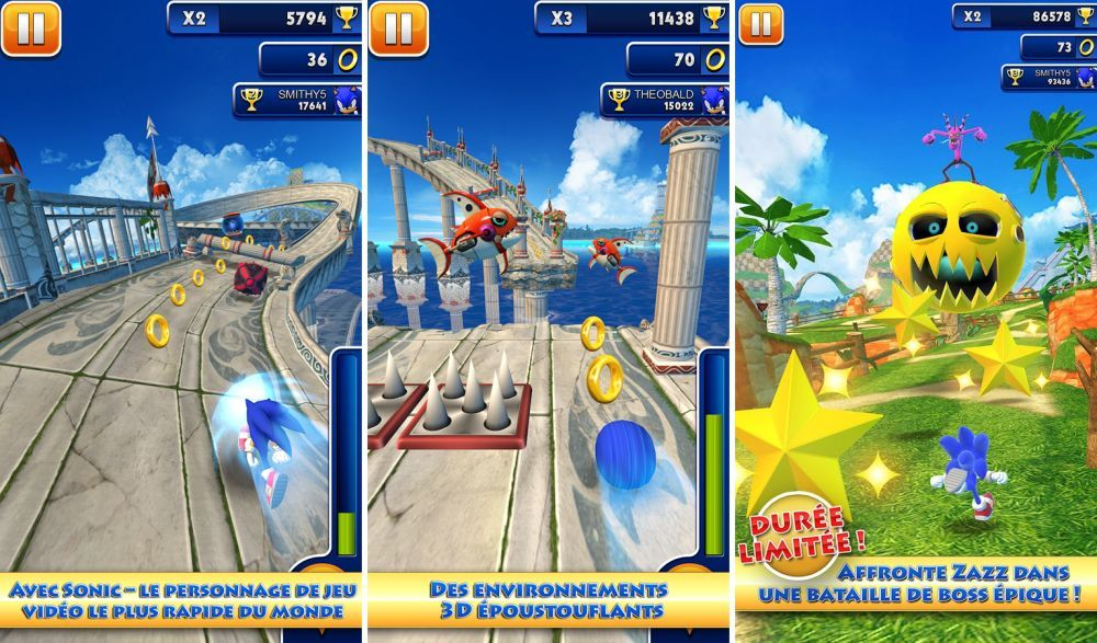 Sonic Dash, le runner game de SEGA disponible gratuitement sur le Play Store