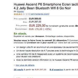 Bon plan : Huawei Ascend P6 à moins de 130 euros